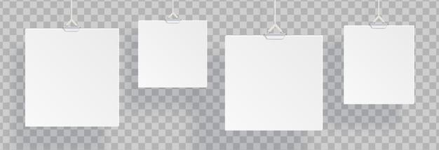 Белые реалистичные пустые висячие документы