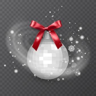 赤い弓で飾られた白いリアルなクリスマスボール透明な背景に雪の霜の効果