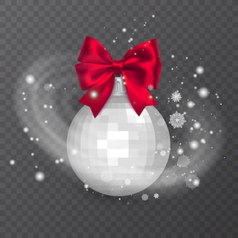 White realistic christmas ball decorated with a red bow snow frost effect on transparent background