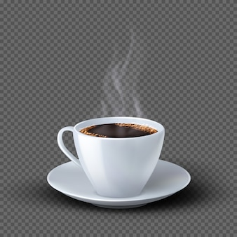 White realistic coffee cup with smoke isolated