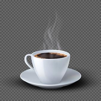 Белая реалистичная кофейная чашка с дымом
