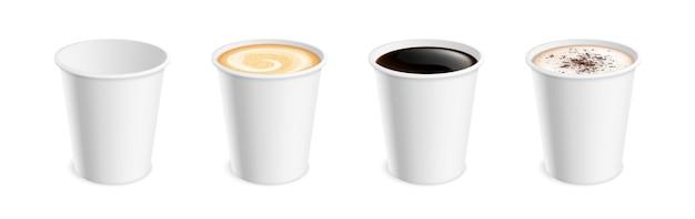 白のリアルなコーヒーマグ。朝食にホットカップラテモカココアカプチーノ、アメリカーノまたはエスプレッソ。分離された3dテイクアウトドリンクベクトルセット。カプチーノカップ、マグカップモカイラスト
