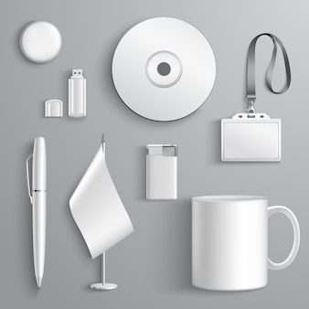 White realistic corporate identity set