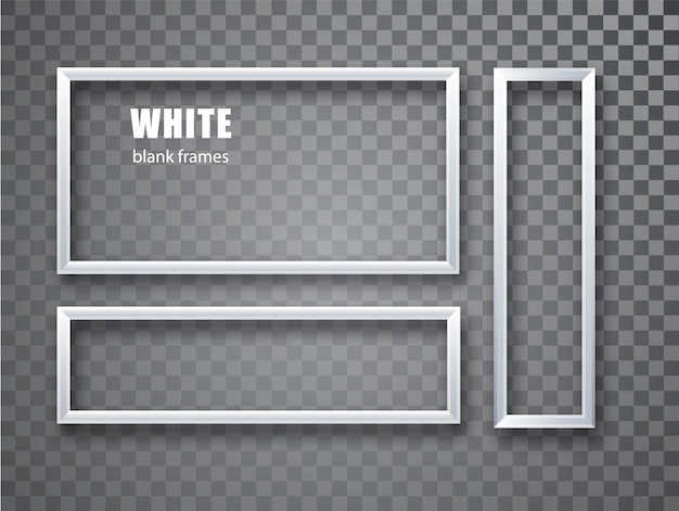 White realistic empty picture frame set