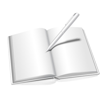 それを書くペンで反射開いた本で白い背景に分離された現実的な白