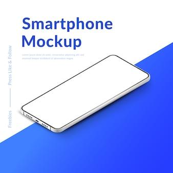 흰색 현실적인 아이소 메트릭 스마트 폰 모형입니다. 빈 흰색 화면이 휴대 전화. 그라데이션 배경에 현대 휴대 전화 템플릿입니다. 장치 화면 그림
