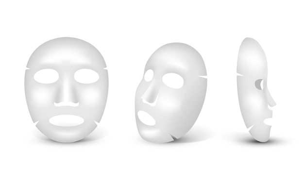 White realistic mask set