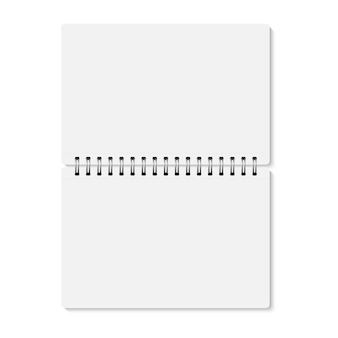 White realistic opened spiral bound notebook