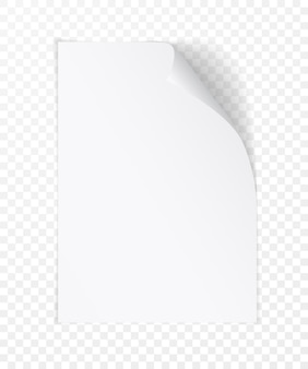 White realistic paper page with curled corner. paper sheet folded with soft shadows on light transparent background.