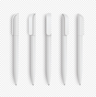 White realistic pen set on isolated .  set of corporate identity, branding stationery. realistic     .