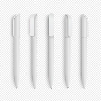 白い現実的なペンを分離に設定します。コーポレートアイデンティティ、ブランド文具のセット。リアル。
