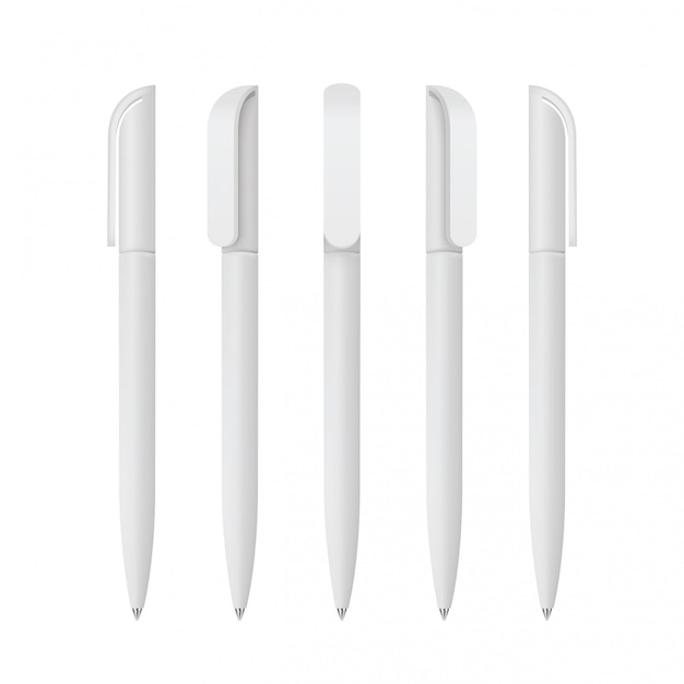 White realistic pen set    set of corporate identity, branding stationery