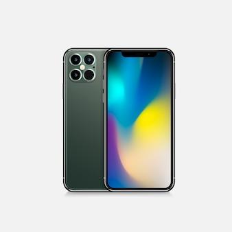 サークル内の白いリアルなスマートフォンのモックアップ。空白の白い画面の3d携帯電話。グラデーションの背景に現代の携帯電話のテンプレート。デバイスの3d画面のイラスト