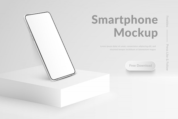White realistic smartphone  on square podium.  mobile phone with blank white screen. modern cell phone template on light background. banner of device  screen