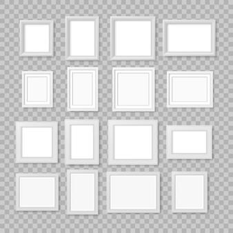 透明な背景に分離された白の現実的な正方形の空の写真フォトフレーム。壁に空白のフォトフレーム。製品テンプレートまたはプレゼンテーションのモダンなデザイン要素。図。