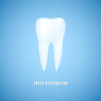 흰색 현실적인 치아 그림입니다. 명확한 건강 어금니. 파란색 배경에 치과 치료 및 치아 복원 의학 배경.