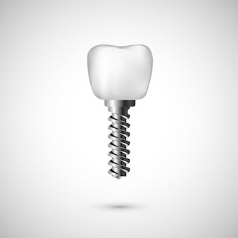 White realistic tooth implant illustration. dentist care and tooth restoration medicine background on white background.