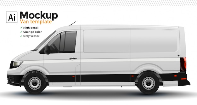 White realistic van template. change body color.