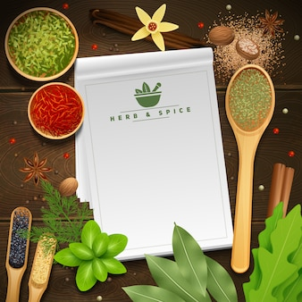 White recipe notepad on wooden background surrounded by various cooking herbs and spices