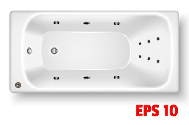 흰색 직사각형 아크릴 욕조 평면도 세라믹 배관 거품