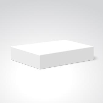 Белая прямоугольная коробка. пакет. ,
