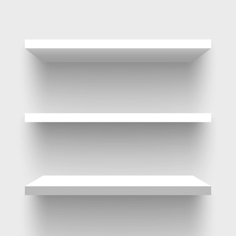 White rectangular wall shelves.