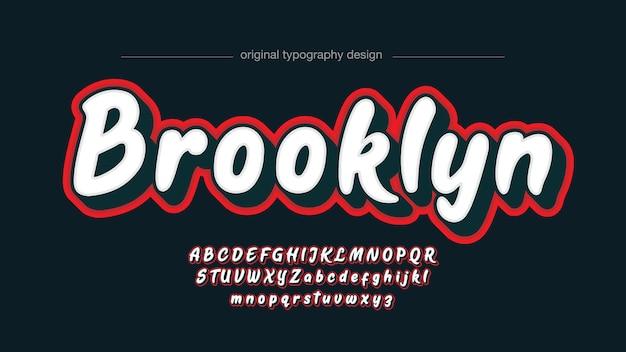 White and red 3d graffiti brush typography