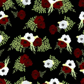 White and red anemone flower seamless pattern