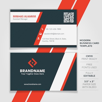 White and red business card design
