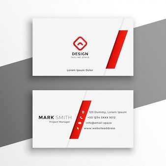 White and red business card elegant design