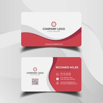 White and red business card template