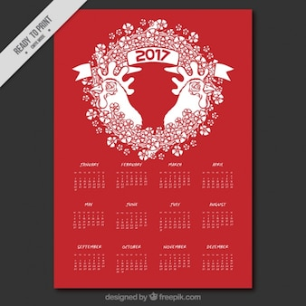 White and red calendar for year of the rooster
