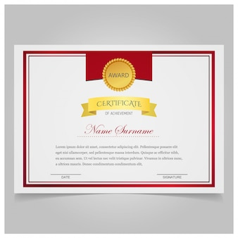 White and red certificate with a gold seal