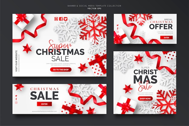White and red christmas sale banner template collection