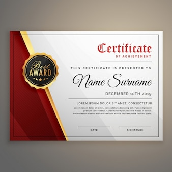White, red and gold certificate