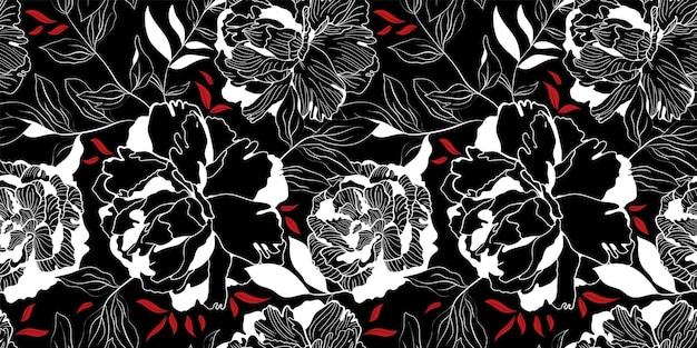 White and red linear peony floral black seamless pattern