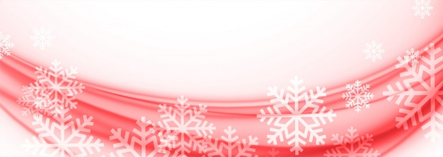 White and red merry christmas snowflakes banner