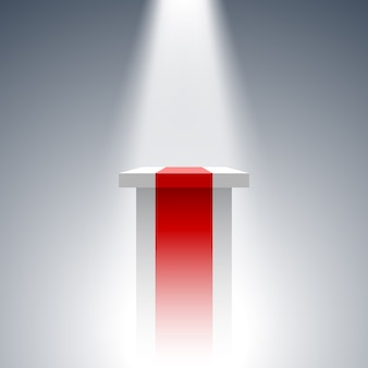 White and red pedestal. stand. tribune. spotlight.  .