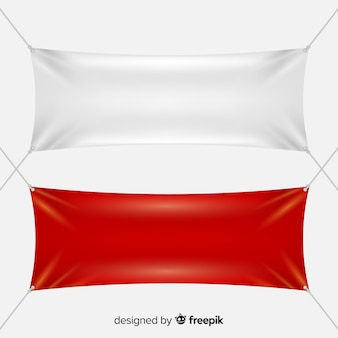 White and red textile banners