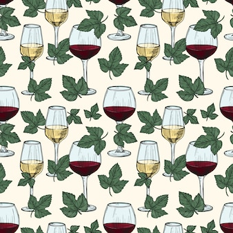 White and red wine, grape vine leaves seamless pattern