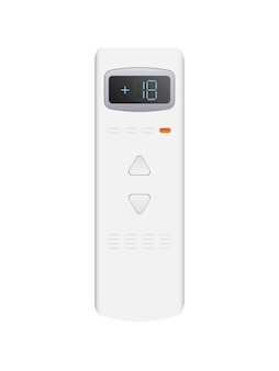 White remote control from the air conditioner 3d. realistic vector remote control. isolated on white background.