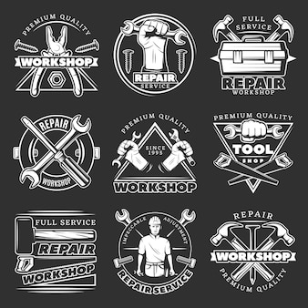 White repair workshop badge set