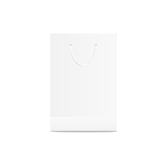 白い小売買い物袋。小売店の紙の包装、ショップの商品や製品のブランディングのための空の空のテンプレート