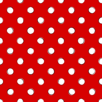 White retro polka dots with black outline on a red background. seamless pattern
