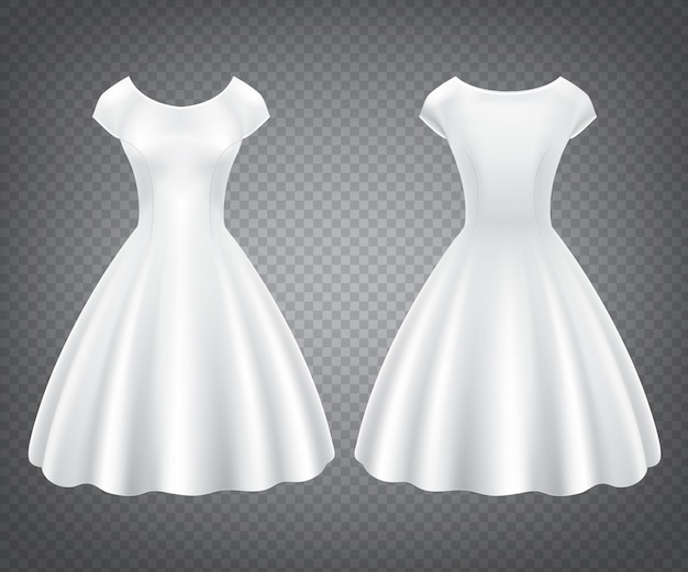 White retro woman dress for wedding or party