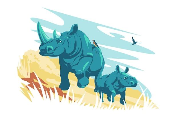 흰 코뿔소 야생 동물 벡터 일러스트 레이 션 ceratotherium simum cottoni 플랫 스타일 절연 야생의 자연 야생 동물 개념에 큰 onehorned 코뿔소의 가족