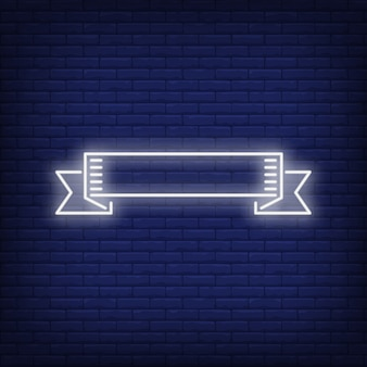 White ribbon banner on brick background. Neon style illustration.