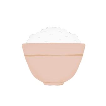 찻잔에 각각 흰 쌀입니다. 흰색 배경에.