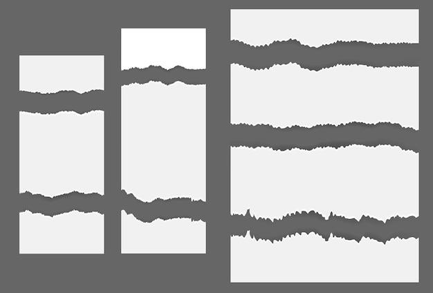 회색 배경의 텍스트 또는 메시지에 대해 흰색 찢어진 빈 가로 줄무늬. 벡터