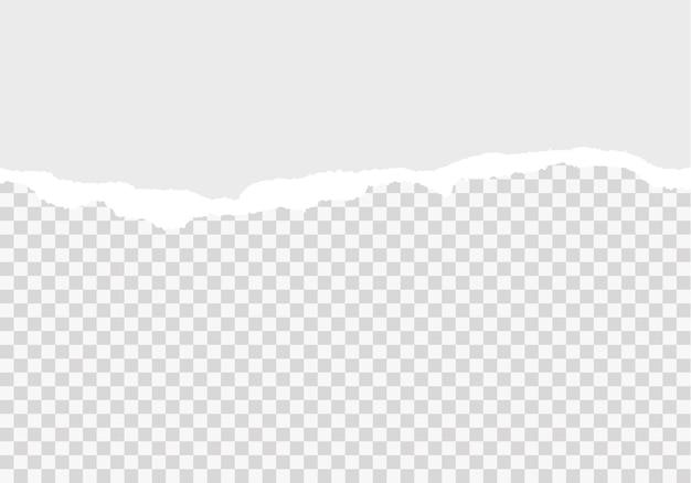 흰색 찢어진 종이 스트립 가로로 매끄러운 배경에 현실적인 찢어진 종이